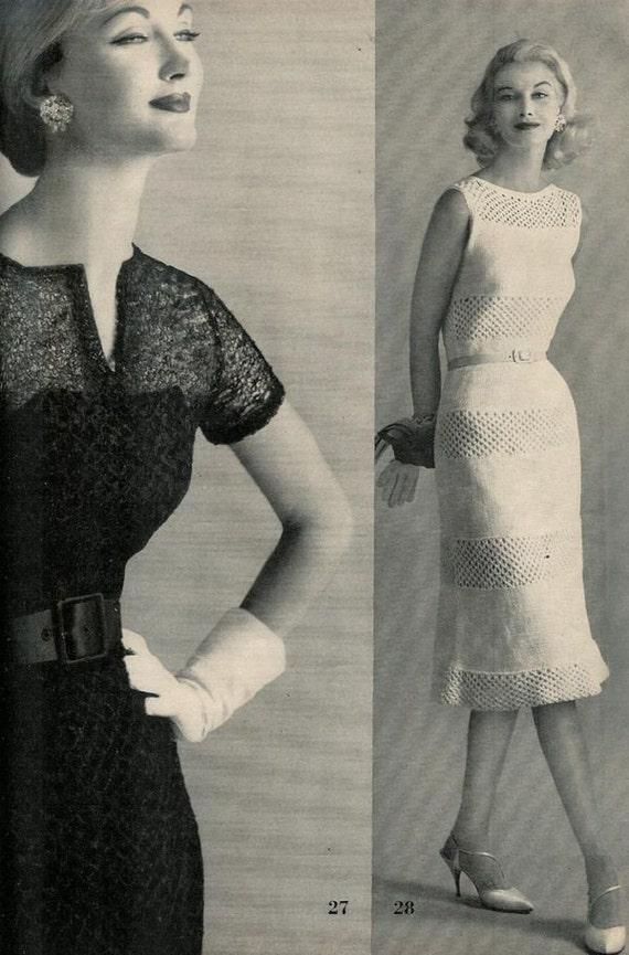 Vogue Knitting 1960 Two Vintage Evening Dress Patterns Retro