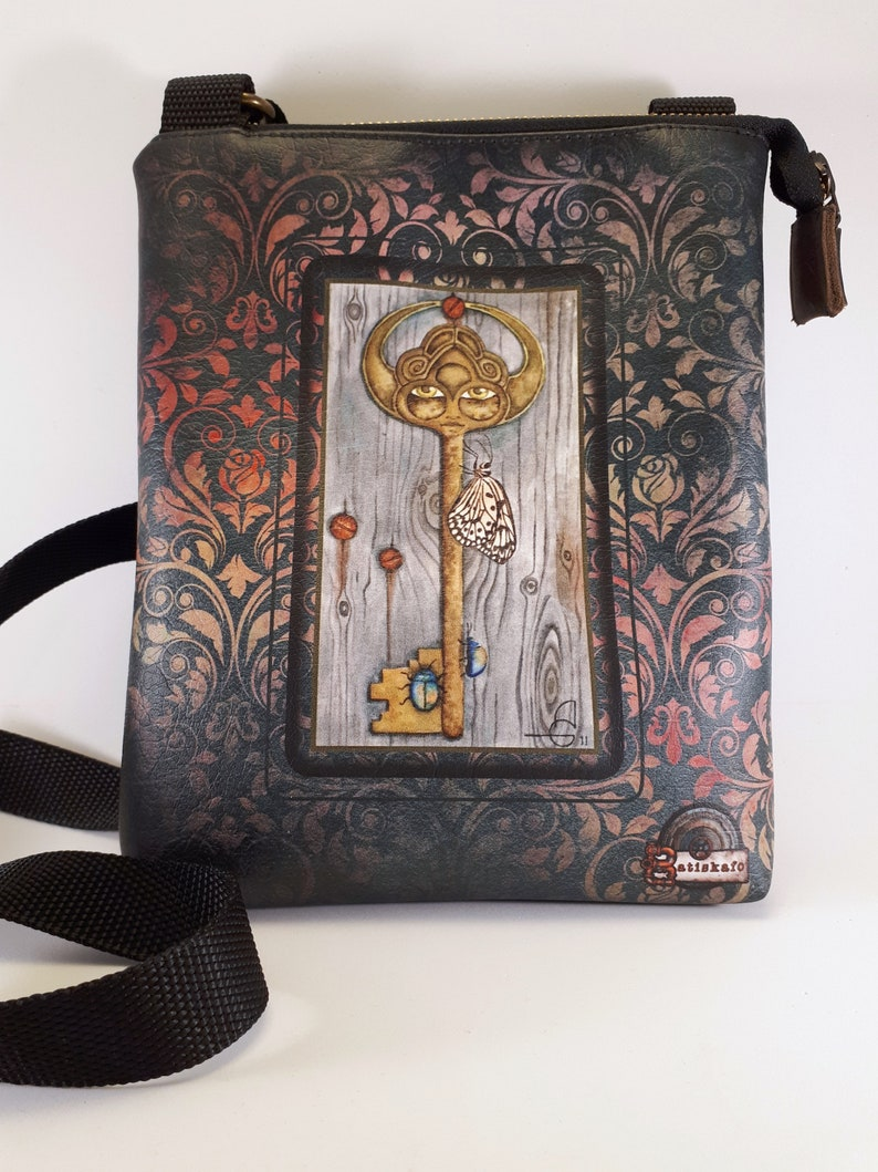 Bag with magic key illustration