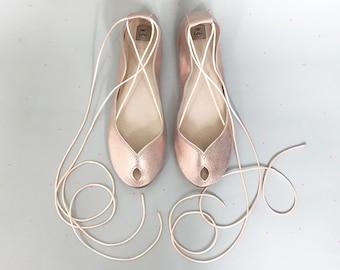 Wedding Shoes Flats. ROSE GOLD Bridal Shoes. Bridal Low Heel Shoes. Bridesmaids Gift. Peep Toe Flats. ROSE Gold Shoes. Leather Ballet Flats