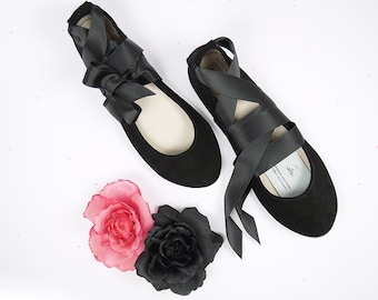 Ballet Flats Shoes With Satin Ribbons. Black Leather Shoes. Handmade Flats. Italian Leather Shoes. Bridal Handmade Ballerinas. Ankle Strap