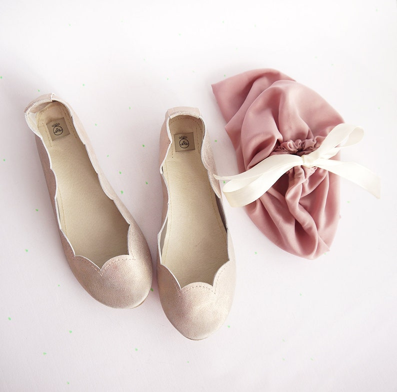 Scalloped Ballet Flats Shoes Handmade  Rose Gold Metalic Sparkly Slip on Ballerinas Shoes