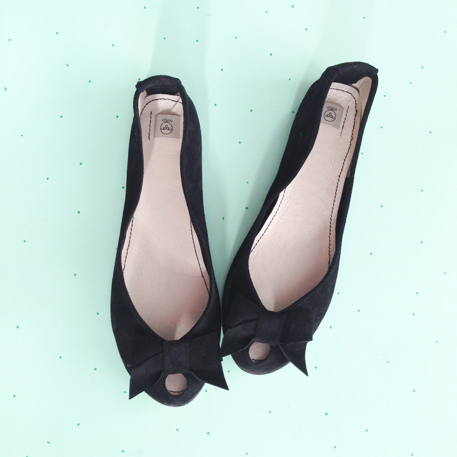 ballet flats shoes. women shoes. black shoes. leather shoes. handmade peep toe. open toes flats. black ballet flats with bow. bl