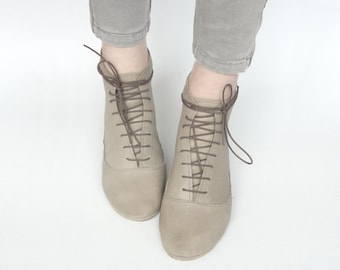 Women Ankle Low Heel Boots in Light Taupe Italian Soft Leather, Lace up Booties, Elehandmade Shoes