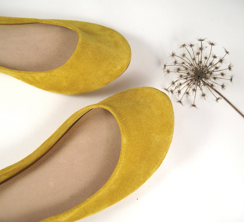 6aa473172ed1 Leather ballet Flats. Yellow Flat. Wedding Shoes. Bridal