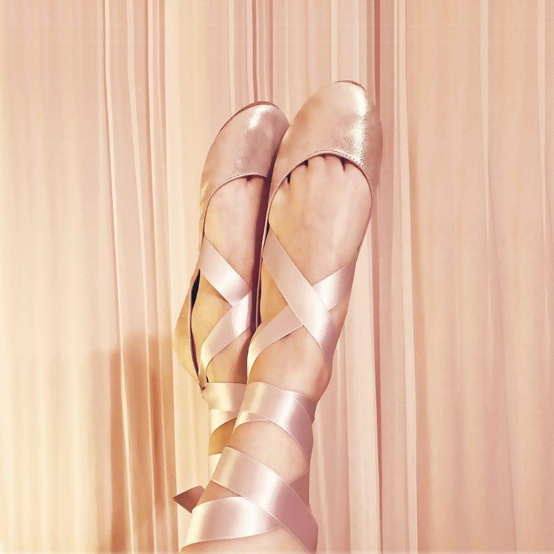 567ec9196965 Ballet Flats With Ribbon. Rose Gold Bridal Shoes. Wedding