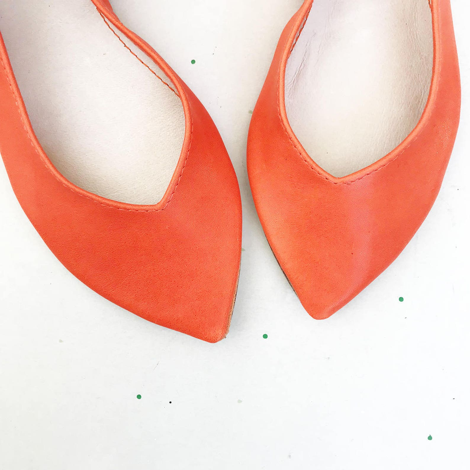 shoes on sale, 20% off, size 40, ready to ship, pointy shoes ballet flats in tangerine orange leather, elehandmade shoes, 90s fl