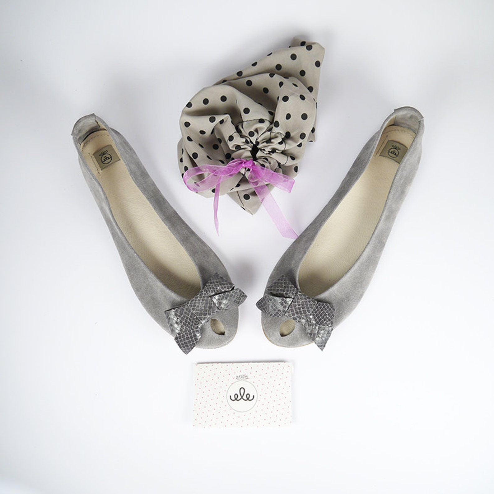 ballet flats shoes. women shoes. leather shoes. handmade peep toe. gray shoes. open toes flats. bridal shoes with bow. gray wedd