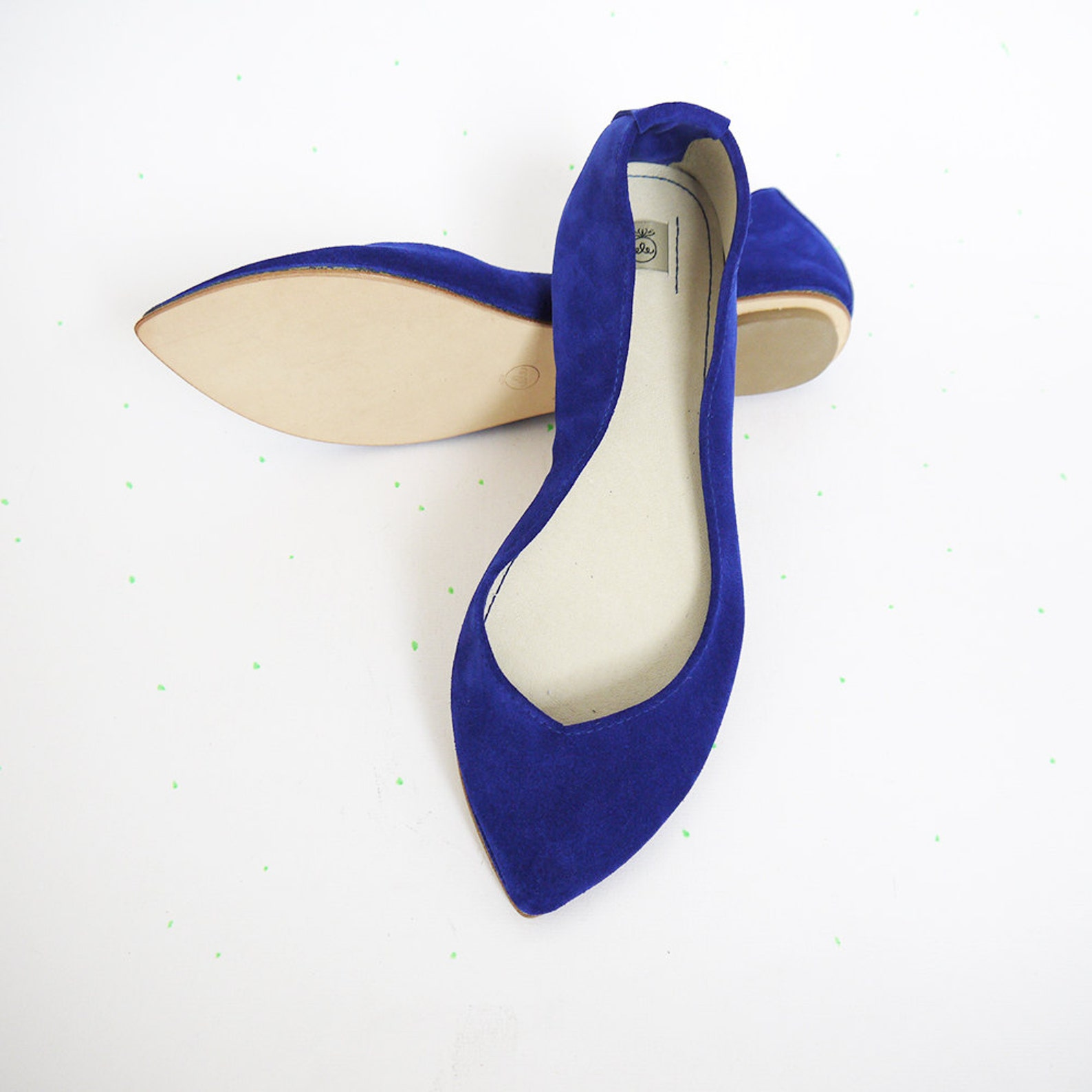 ballet flats shoes. pointy shoes. pointed ballerina. bridal shoes. wedding shoe. gift for her. royal blue ballet flats. husband