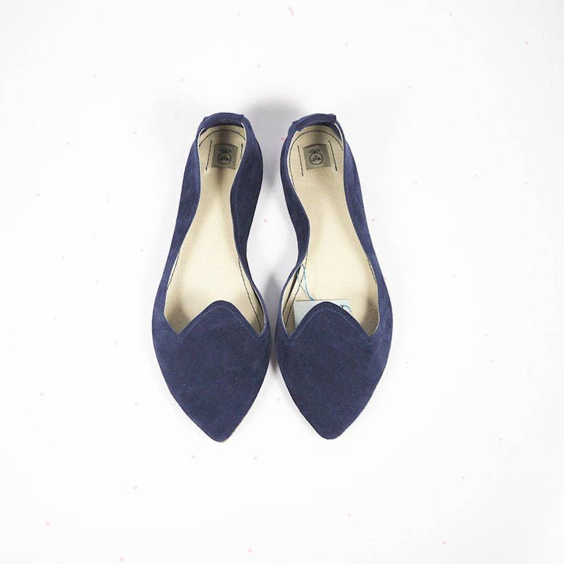 4950af01bf79a Loafers Women Shoes. Leather Shoes. Pointy Navy Blue Leather Shoes.  Handmade Slip on Shoe. Pointed Flats. Gift For Her. Italian Leather Shoe