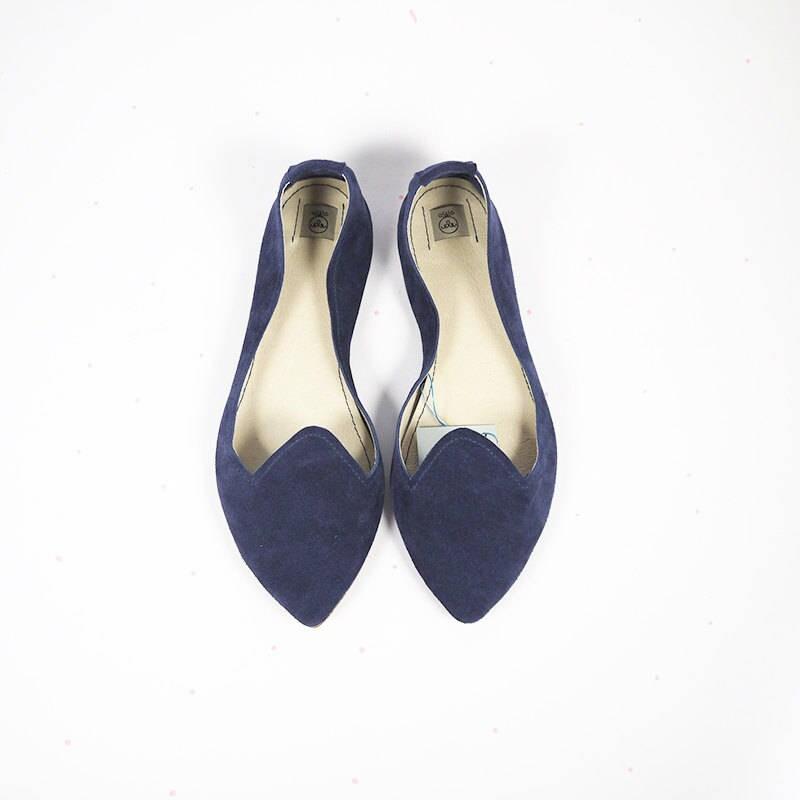 mocassins chaussures femmes.chaussures en cuir.chaussures pointues en cuir cuir en bleu marine.fait main glisser sur la chaussure.pointé flats.cadeau pour elle.italian leather Chaussure  0afd3e