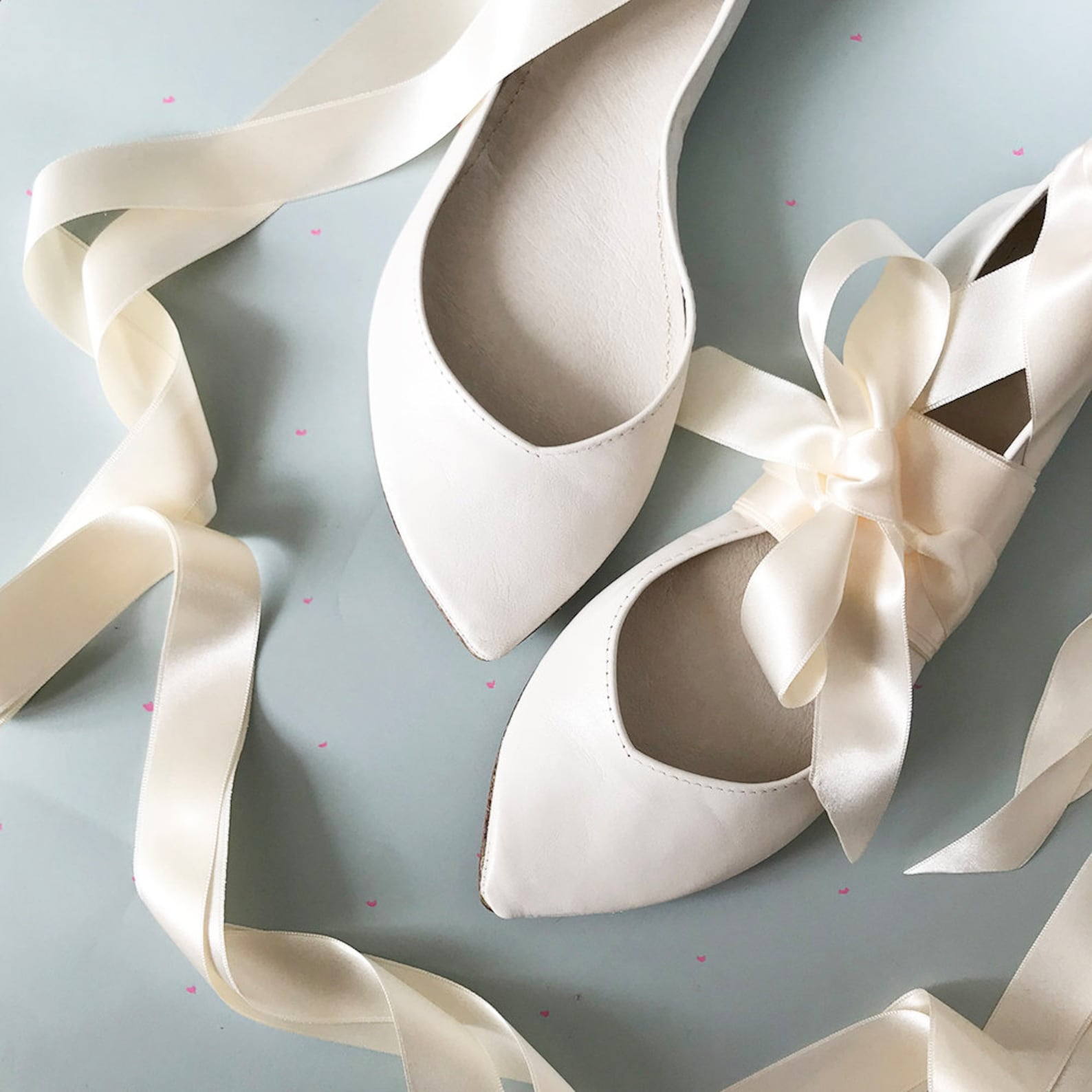 white wedding shoes. ballet flats with ribbon. low heel shoes. pointy ballet flats. leather ballerinas. bridal flat shoes. bride
