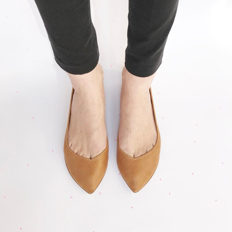 033f6e074156 Leather Ballet Flats in Tan Italian Leather Pointed Handmade