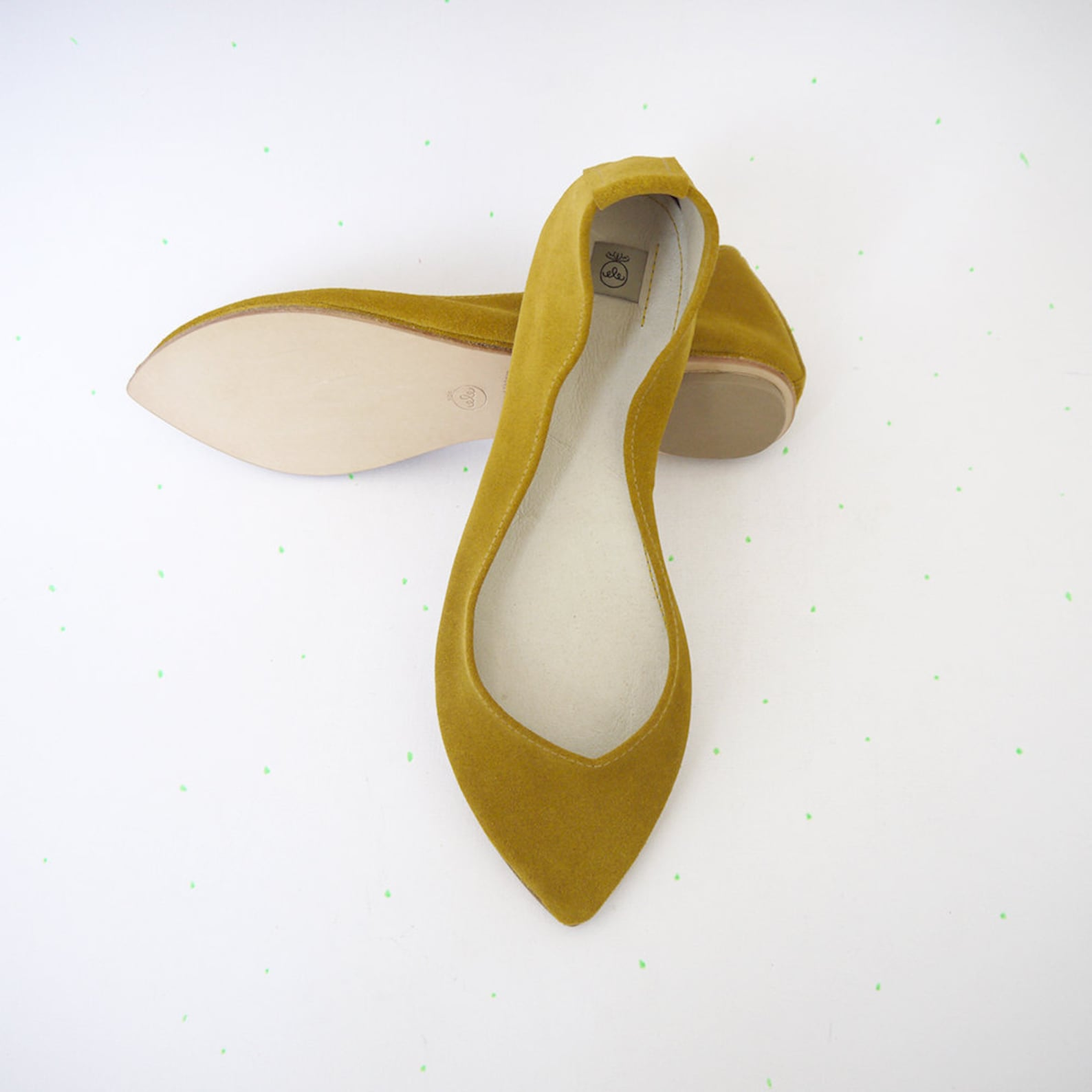 ballet flats shoes. pointy shoes. pointed ballet flats. yellow ballet flats. leather slip on. pointed ballerinas. bridal shoes.