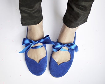 Ballet Flats With Satin Ribbon in Royal Blue Soft Italian Leather, Bridal Shoes