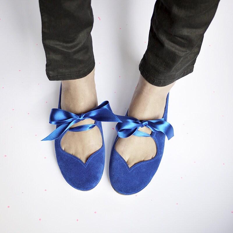 Ballet Flats With Ribbon. Royal Blue Ballet Flats. Women  cf8d6da6fc