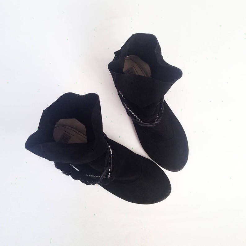 Gipsy Boots Tribal Ankle Boots Ethnic Boot Black Booties Women Black Leather Boots Black Boho Boots Italian Leather Black Ankle Boots