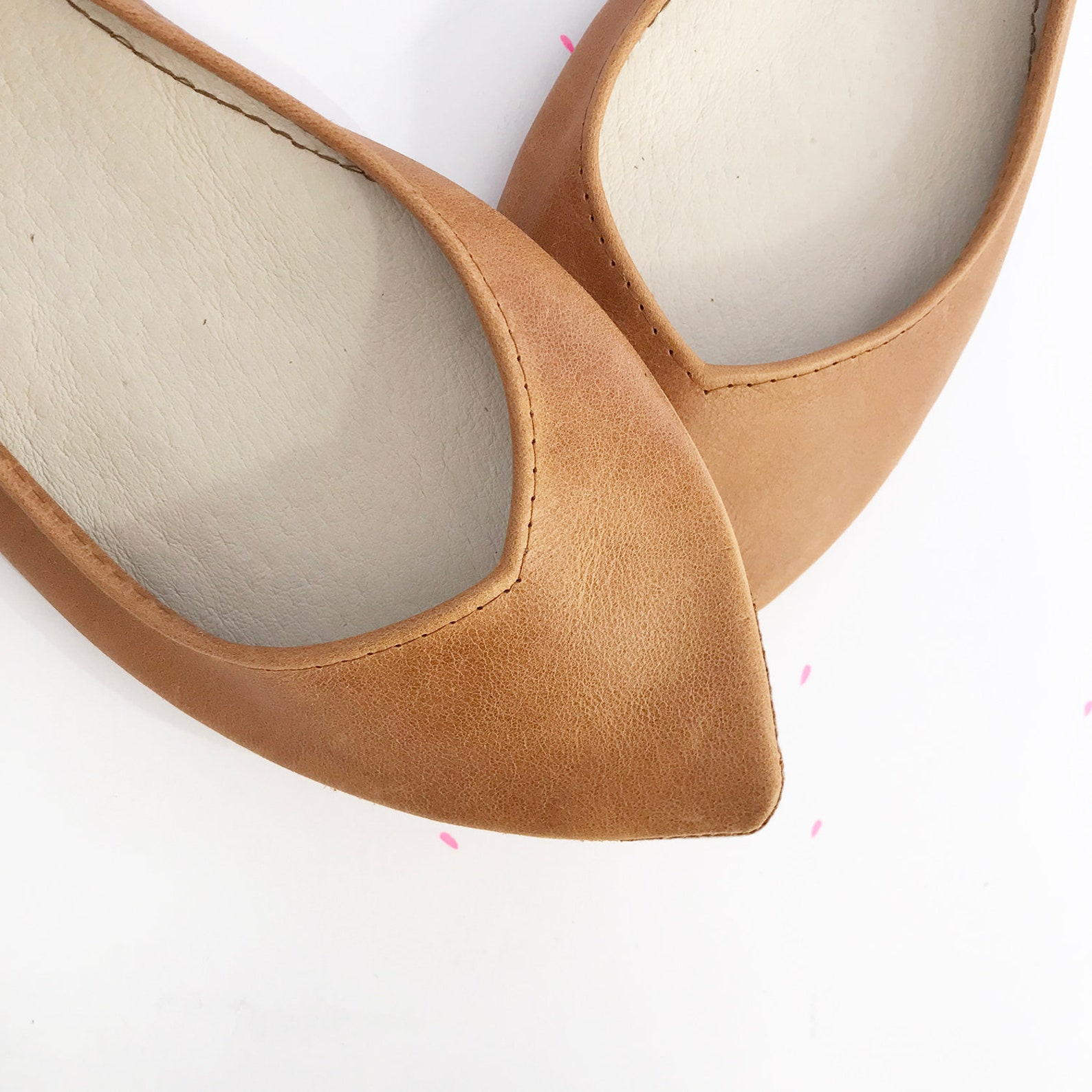 leather ballet flats in tan italian leather, pointed handmade ballerina, bridal shoes, elehandmade low heel comfortable flats