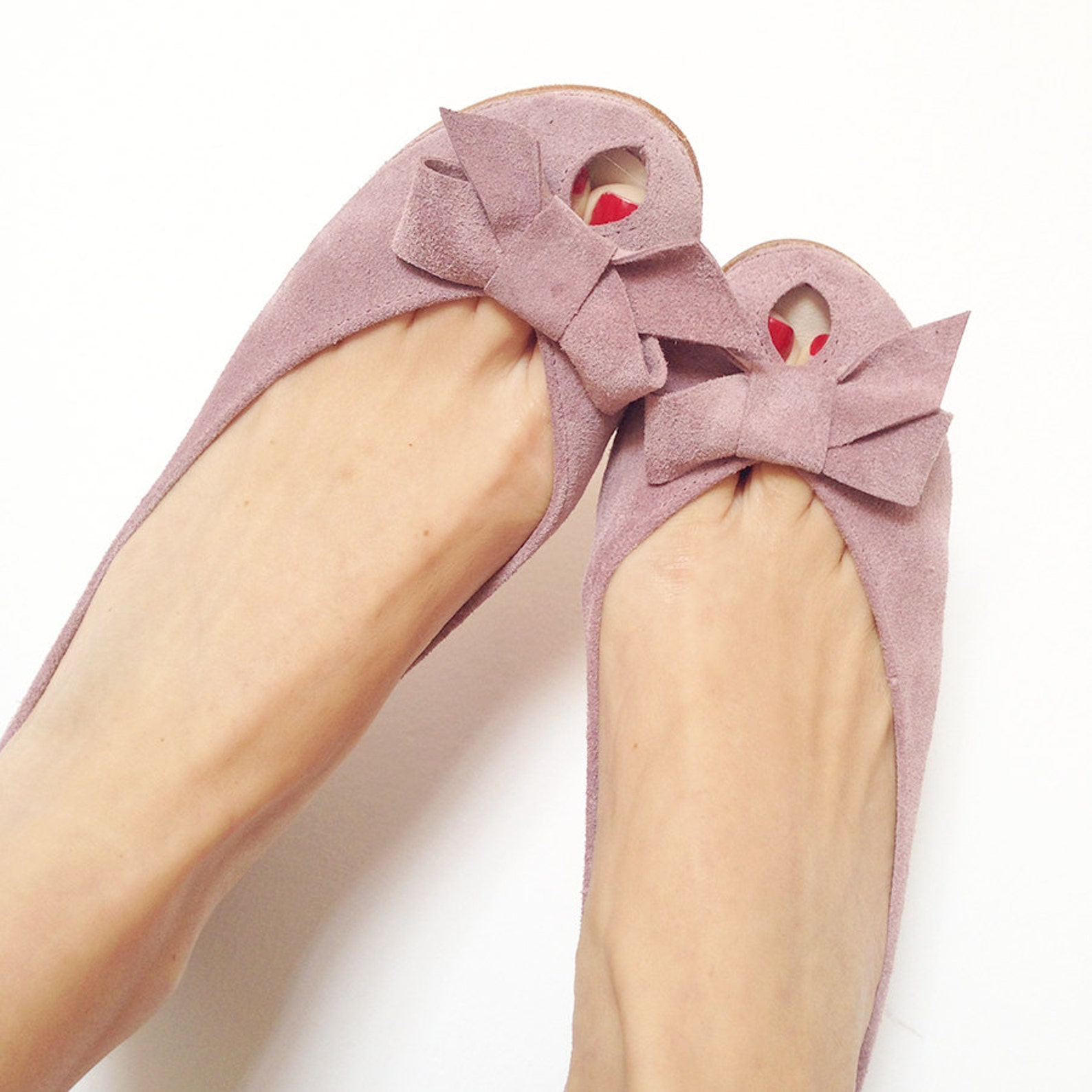 ballet flats shoes. women shoes. leather shoes. handmade peep toe. blush shoes. rose smoke shoes. bridal shoes with bow. rose we