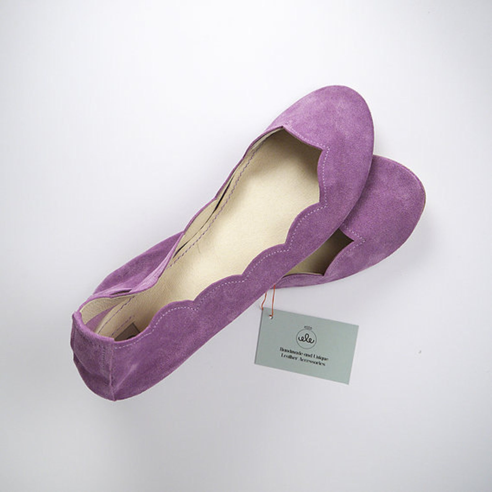 shoes on sale, 20% off, size 34, ready to ship, scalloped ballet flats shoes radiant orchid lilac light violet slip on ballerina