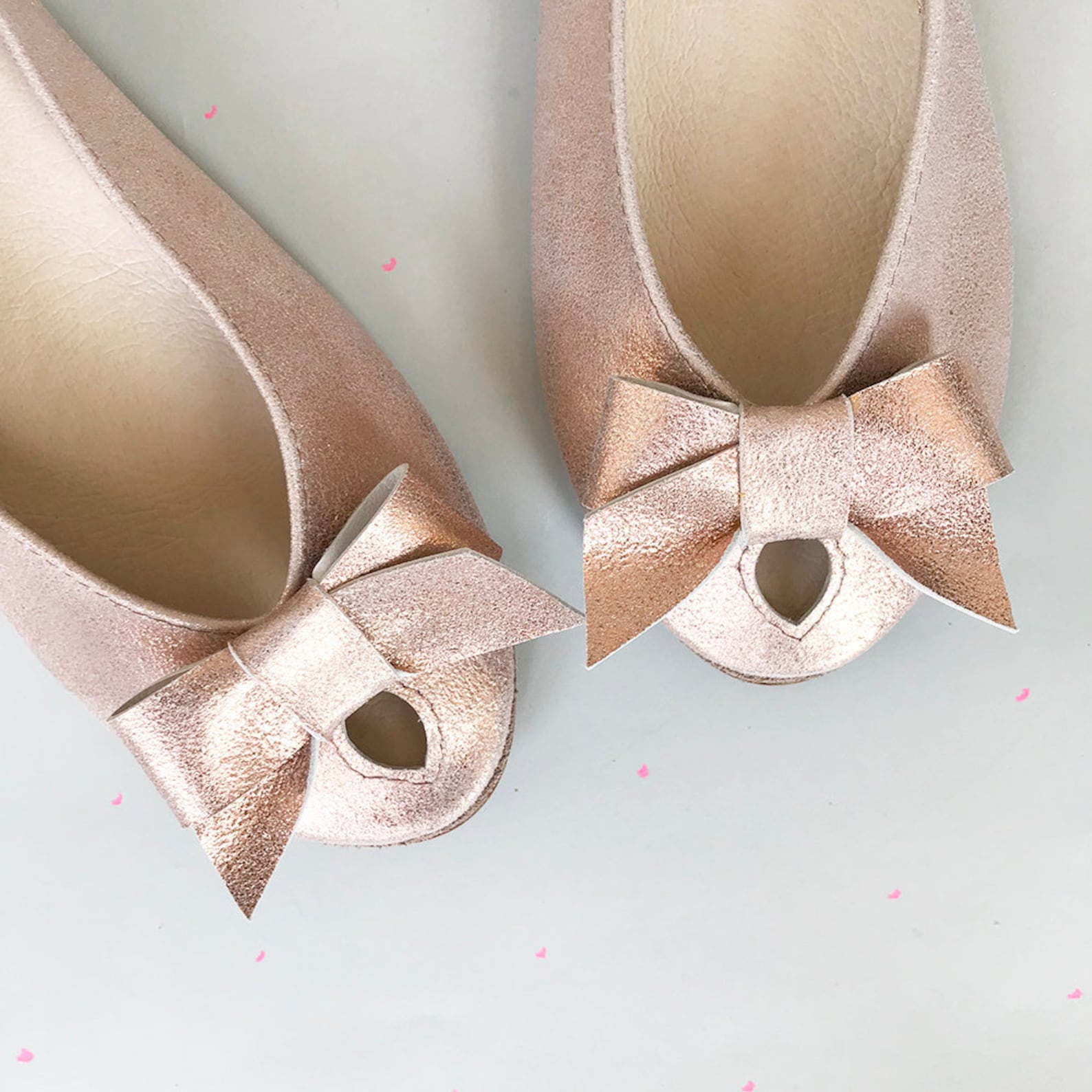 wedding shoes. rose gold flats. bridal shoes flats. rose ballet flats shoes. leather shoes. peep toe. brautschuhe. scarpe da spo