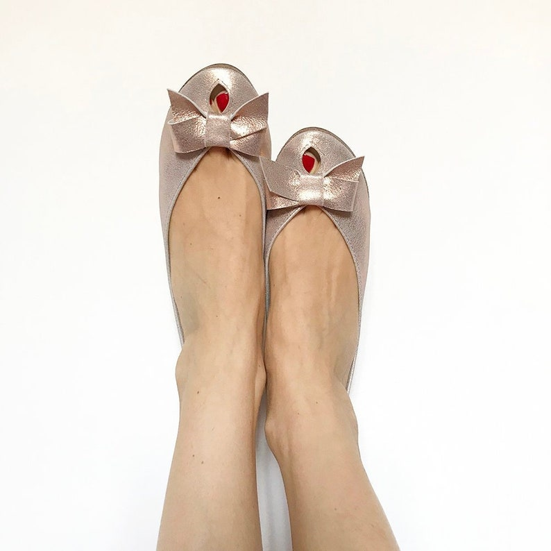 f2cfbbe7e798 Wedding Shoes. Rose Gold Flats. Bridal Shoes Flats. Rose