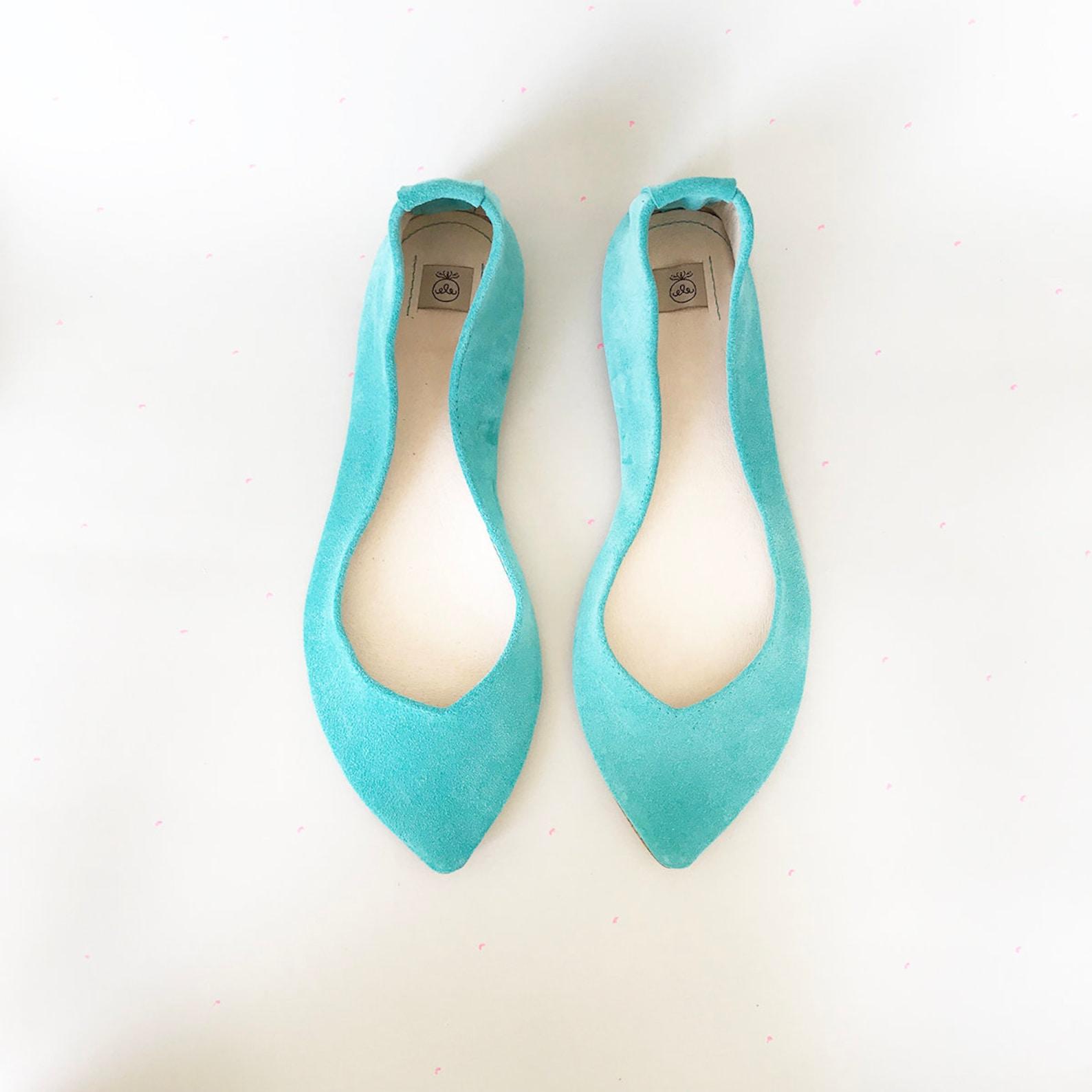 wedding shoes. robin egg bridal flats. low heel shoes. pointy ballet flats. leather ballerinas. bridal flats. bridesmaids gift.