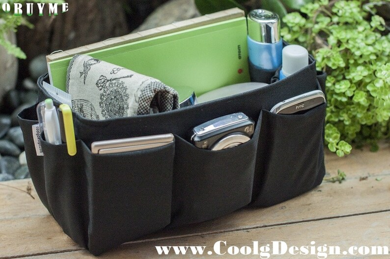 Black Bag Organizer Insert With Multi Compartment Extra Large image 0