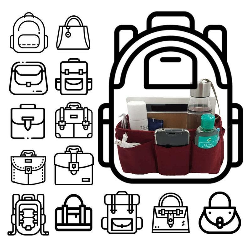 Holiday Gift Purse organizer insert multi-pocket for handbag brown plaid \uff5cExtra Large 30x12cm