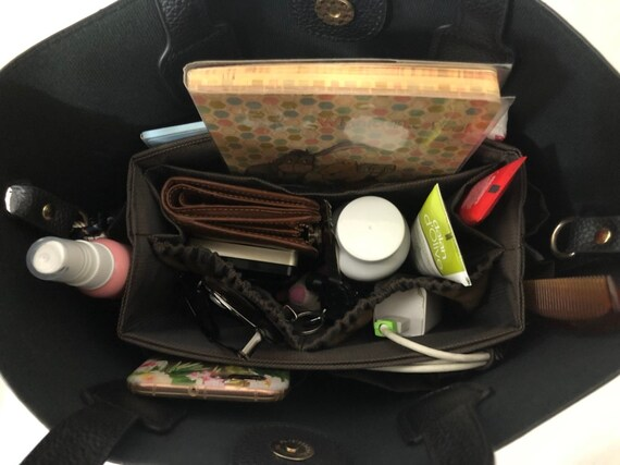 Handbag organizer insert practical and Easy to Use solid brown Large 25x10cm