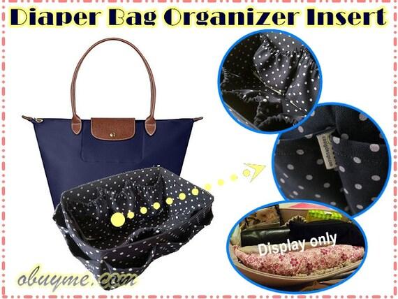 Sac à langer insert pour longchamp Le Pliage grand sac bleu à petits pois  fait sur commande 45994c773be