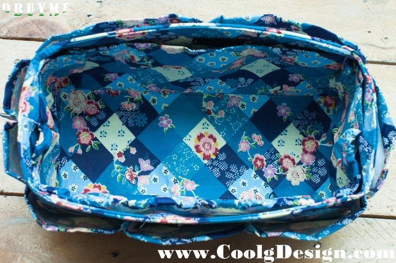 Purse Organizer Custom Fashion Blue Floral Pattern Extra image 0