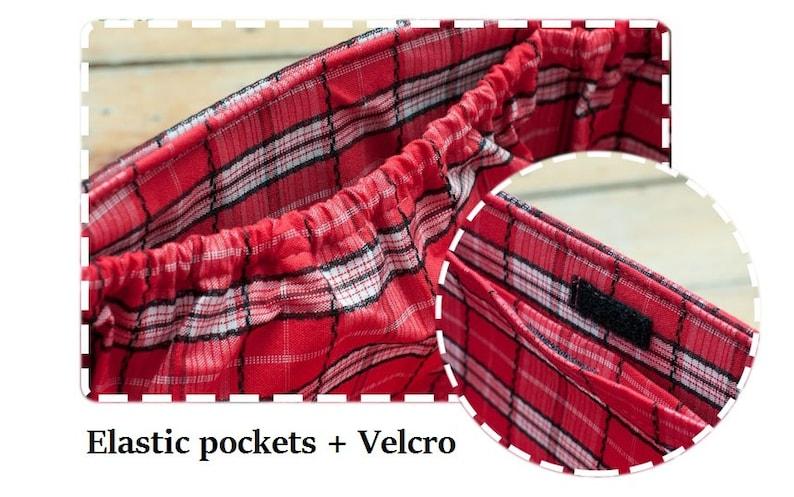 Medium Purse Organizer Insert Handmade Gift  Extra Sturdy  Red Plaid  Medium 22x 8cm