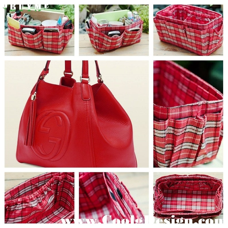 Red Plaid Bag Organizer Extra Large For Longchamp Bag image 0