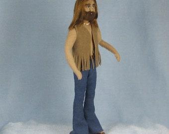 Seventies Hipppie Man Soft Sculpture Miniature Doll by Marie W. Evans