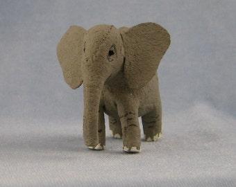 Elephant Soft Sculpture Miniature Animal by Marie W. Evans