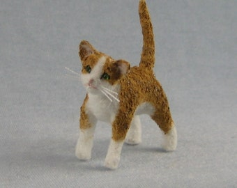 Orange and White Cat Soft Sculpture Miniature by Marie W. Evans