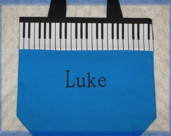 192490289 PIANO MUSIC book bag for boys, music lesson book bag, personalized for  kids, embroidered turquoise blue canvas, recital birthday gift idea