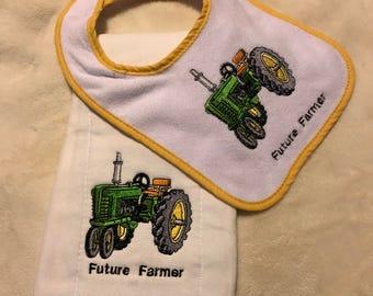 Future Farmer Burp Cloth and Bib Set