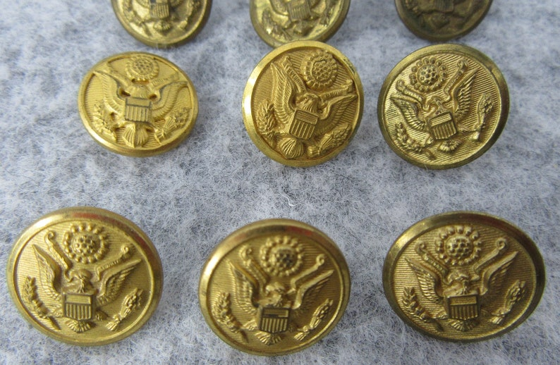 15 Vintage Waterbury Button Company Metal Military Buttons Round Eagle