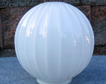 Vintage Arts & Crafts Fluted Art Glass Globe Porch Light Sconce Shade