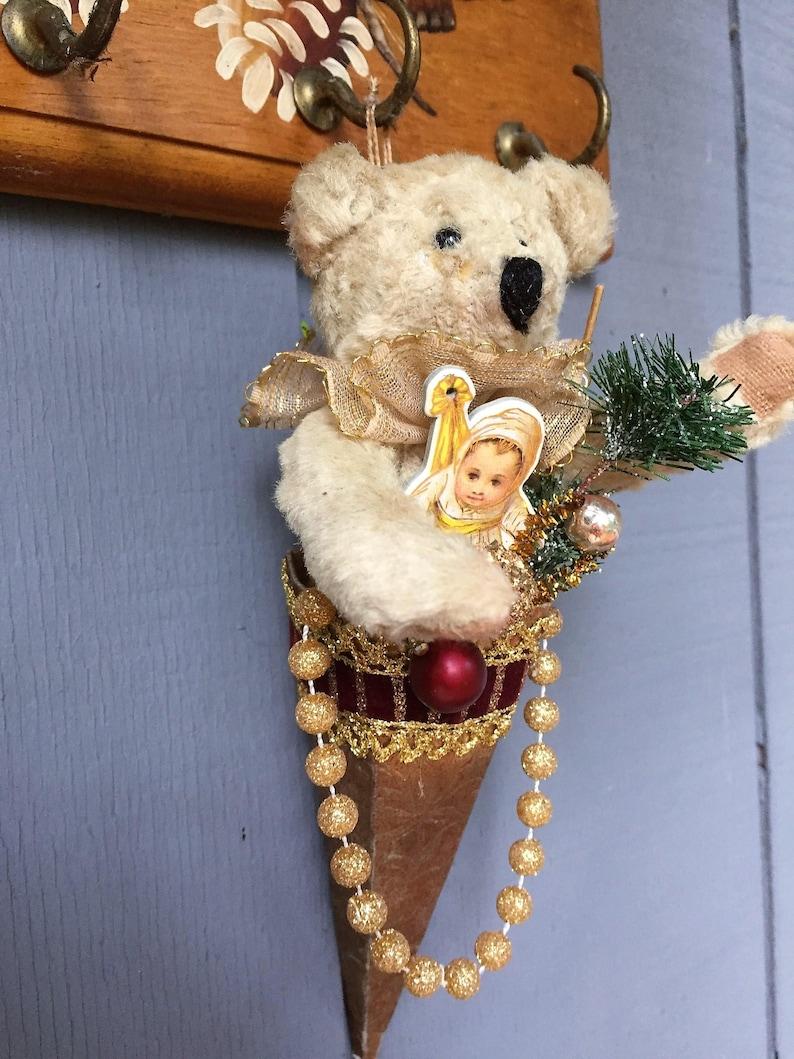 Vintage Christmas Paper Cone Ornament Stuffed Poseable Bear Glitter Deco