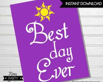 Rapunzel Birthday Party- Printable BEST day EVER Sign by Fara Party Design | Tangled Party | Welcome Sign