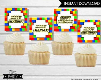 Building Blocks Birthday Party Printable Cupcake Toppers by Fara Party Design | Toppers | Instant Download