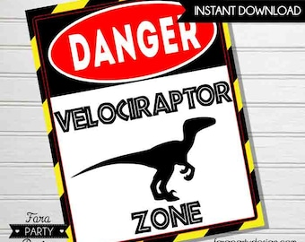 Jurassic Birthday Party Printable Velociraptor Zone Sign by Fara Party Design |Jurassic Party | Dinosaur Birthday | Welcome Sign