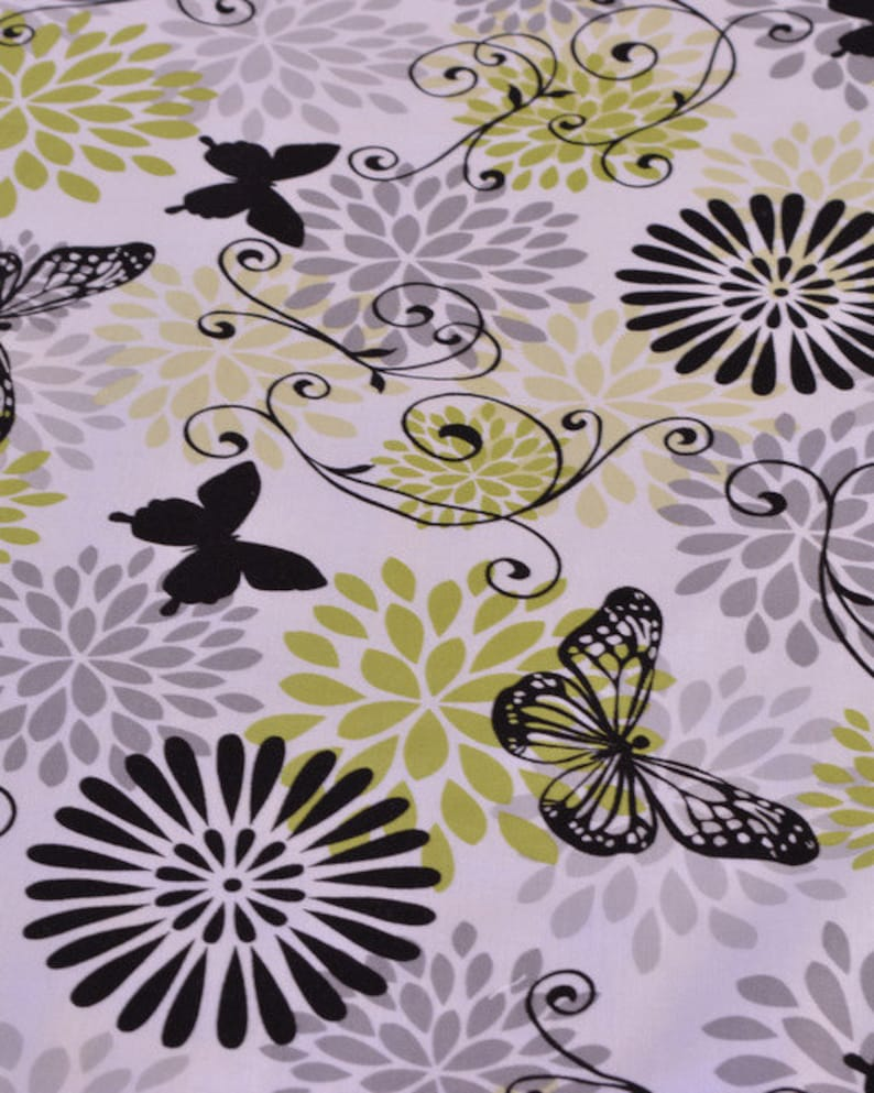 42 by 12.5 inches double sided- apple green black Table Runner-lined white and gray butterfly floral