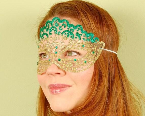 Sheer Mask Emerald And Gold Irish Princess Masquerade Mask Etsy