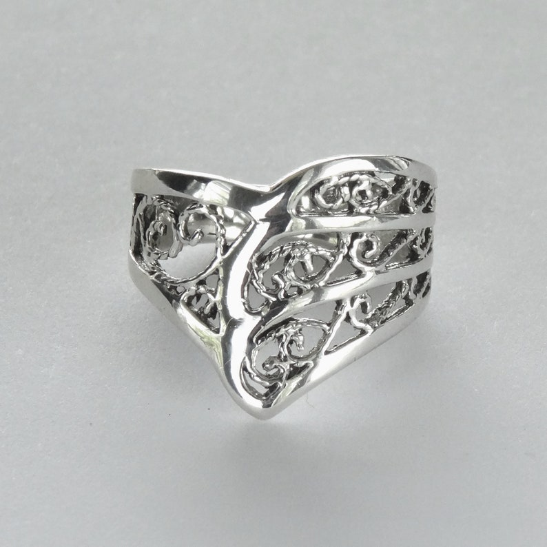 Size 8 Chevron Armor Ring Sterling Silver