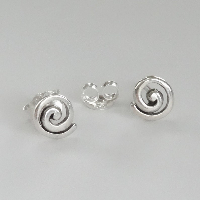 Tiny Stud Spiral Post Earrings Sterling Silver Tiny Stud