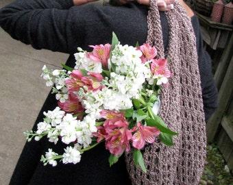 brown fleck knitted market bag