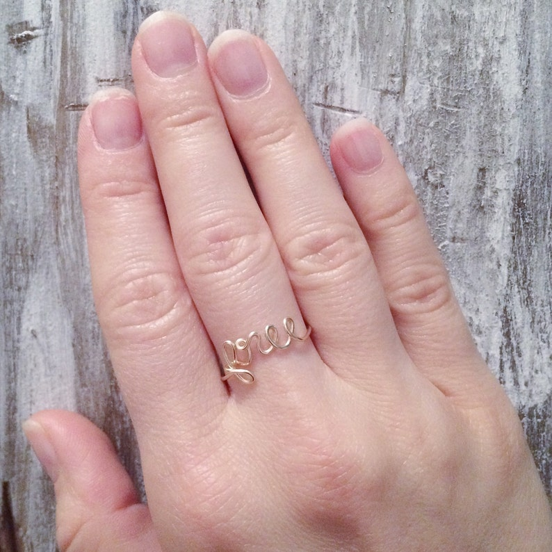 Word/Name ring- 5 letter word 14K gold/ rose gold filled